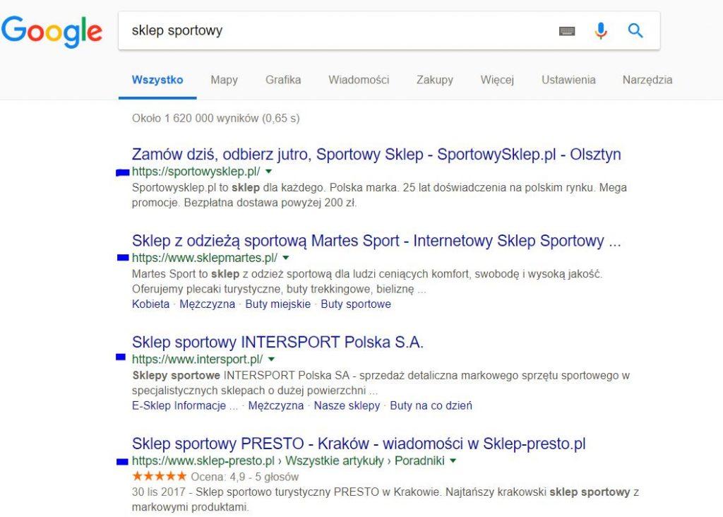 Wyniki wyszukiwarki Google dla frazy sklep sportowy - w top sklepy z https